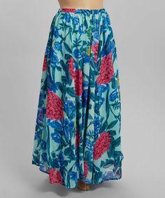 b5ac6d78e36 Meetu Magic Blue   Pink Garden Maxi Skirt - Plus