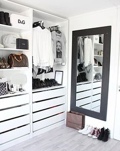16 Stylish Wardrobe Ideas That Use The Ikea Pax The Ikea pax is one of the most popular wardrobe and closet systems used. Here are 16 of the most stylish wardrobe ideas using the Pax from Ikea. Bedroom Closet Design, Closet Designs, Bedroom Decor, Ikea Bedroom, Bedroom Wardrobe, Wardrobe Closet, Wardrobe Ideas, Small Wardrobe, Ikea Walk In Wardrobe