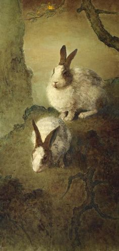 Lee Man Fong - Rabbits, oil on board, 103 x 49 and 104 x 50 cm Flora And Fauna, Emperor, Rabbits, Painting, Oil, Board, Shirt, Color, Inspiration
