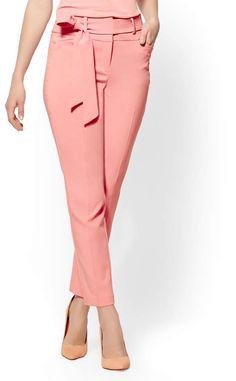 d831ca7b190 New York   Co. 7th Avenue Petite Pant - Pink Paperbag-Waist Slim-