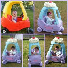 Ice cream/ cupcake car for Dahlia! Toddler Toys, Baby Toys, Kids Toys, Recycling For Kids, Diy For Kids, Little Tykes Car, Little Tikes Makeover, Cozy Coupe Makeover, For Elise