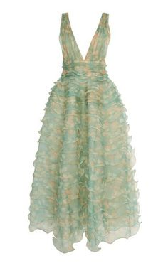 5a73746c76 Shop Ruffled Silk Organza Printed Midi Dress by J. Mendel SS19 Silk  Organza