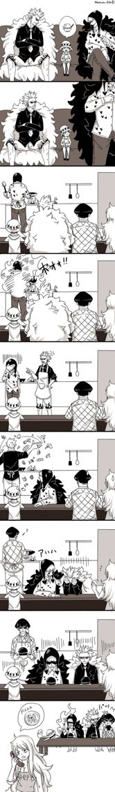 Haha cant cook? Trafalgar Law, Vergo, Monet, Corazon and Doflamingo One Piece Donquixote Family