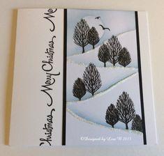 Handmade card by Lisa B. Card-io stamp set - Woodland Walks - and Distress inks. Christmas Stencils, Christmas Card Crafts, Christmas Cards To Make, Xmas Cards, Holiday Cards, Christmas 2016, Handmade Christmas, Christmas Tree, Hand Made Greeting Cards