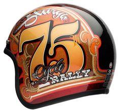 Bell Helmets introduces a special edition anniversary Sturgis helmet. Motorcycle Helmet Design, Cafe Racer Helmet, Custom Motorcycle Helmets, Custom Helmets, Cafe Racers, Retro Helmet, Sturgis Motorcycle Rally, Bell Helmet, Helmet Paint