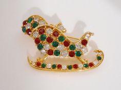Vintage Christmas Brooch Rhinestone Sleigh Winter Red Green M. Lent #MLent