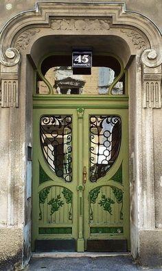 Vienna, Austria, green door, entrance, curves, details, ornaments, beauty, architechture, culture, photograph, photo