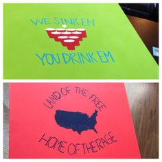"""Instead of USA do DE and """"land of the free home of the dage"""" Cooler Connection, Bubba Keg, Crafts To Make, Arts And Crafts, Fun Drinking Games, Summertime Madness, Beer Pong Tables, Diy Canvas Art, Summer Crafts"""