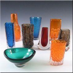 1980's  Whitefriars/Baxter Cinnamon Glass Textured Bark Vase