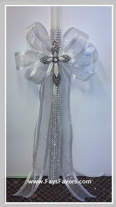Bling Cross Baptism Candle