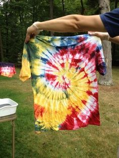 Introduction to Tie-Dyeing - Find out how to create this twirled-pattern shirt.....this takes me back to when I was in elementary and junior high. I was going through a baggy shirt, tie-dye phase..lol..this would be a fun backyard event for a little party.