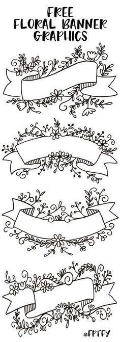 Doodle Banner mit Blumen
