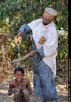 Baptism ceremony . Ethiopia