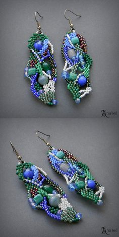 Freeform seed bead earrings free form peyote by Anabel27shop
