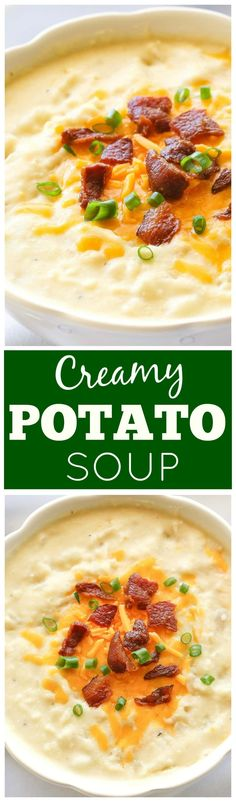 Creamy Potato Soup - a slow cooker soup that is so easy! Top with bacon, cheese, and green onions for the ultimate potato soup. Creamy Potato Soup - a slow cooker soup that is so easy! Top with bacon, cheese, and green onions for the ultimate potato soup. Slow Cooker Recipes, Crockpot Recipes, Soup Recipes, Cooking Recipes, Recipies, Irish Recipes, Chili Recipes, Slow Cooker Potato Soup, Creamy Potato Soup