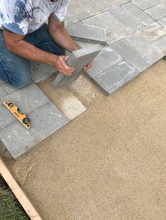 How to Install A Custom Paver Patio Brick Paver Patio, Paver Walkway, Brick Patios, Paver Sidewalk, Paver Sand, Paver Edging, Stone Patios, Walkways, Diy Patio
