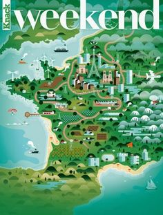 Illustrated map of France from Knack Weekend Magazine
