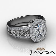 1 75 Ct Oval Diamond Engagement Halo Pave F Color SI1 GIA Ring 14k White Gold | eBay