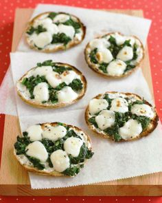 Mini Spinach-and-Cheese Pizzas Recipe -- great back-to-school lunch!