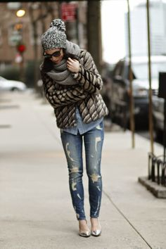 Faux Fur With Distressed Denim