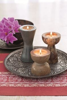 Brighter Home™ by PartyLite Soapstone Tealight Holder Set - Artisans, in Uttar Pradesh, India, craft each soapstone piece by hand. Trio includes one of each shade. Partylite, Candle In The Wind, Bright Homes, Candle Companies, Soapstone, Candle Lanterns, Tea Light Holder, Candle Making, Scented Candles