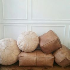 Leather Pouf Ottoman  natural leather creamy beige by MindaHome
