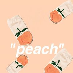"a photo of several socks with peaches on them with the word ""peach"" on top of it"