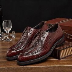 Large size EUR45 Crocodile Grain brown / black derby mens dress shoes genuine leather wedding shoes casual mens business shoes