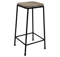 Rustic Square Bar Stool | Metal Frame and Wood