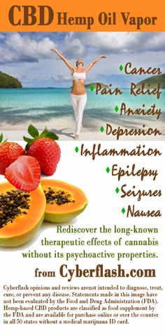 Miracle benefits of CBD (Hemp Oil), now in a vapor. Click to read, watch videos on the science, and for where to purchase... amazing. http://www.cyberflash.com/hemp-oil-benefits.asp