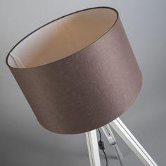 Lámpara de pie TRIPOD blanca con pantalla 45cm lino marrón #iluminacion #decoracion #interiorismo #vintage