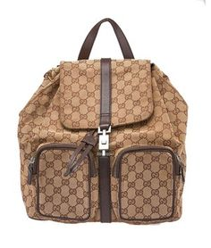 Gucci Beige Gg Canvas & Leather ( Backpack. Get one of the hottest styles of the season! The Gucci Beige Gg Canvas & Leather ( Backpack is a top 10 member favorite on Tradesy. Save on yours before they're sold out!
