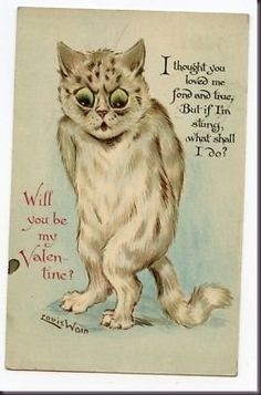 Curious History, Strange Vintage Cat Valentine's Day Cards . Cat Valentine, Valentine Poster, Vintage Valentines, Valentine Ideas, Elmo, Louis Wain Cats, Fun Illustration, Cat Illustrations, Painted Books