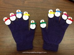 Snowman #Glove- could use with 5 Little Monkeys or any counting type poems