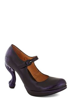 John Fluevog Best Claw-Foot Forward Heel by John Fluevog - Purple, Solid, Luxe, Statement, High, Mary Jane, Leather, Party, Cocktail, Quirky, Best