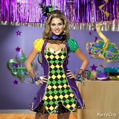 Give the classic jester character your own feminine flair in a flirty Mardi Gras costume.