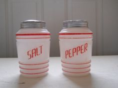 Vintage Red and White Salt and Pepper Shakers by BarnyardVintage, $35.00
