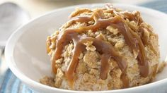 Mock Fried Ice Cream - Treat yourself to a creamy indulgence. Greek yogurt is frozen, mixed with Cinnamon Toast Crunch® cereal and drizzled with caramel to create a taste reminiscent of fried ice cream. Ice Cream Treats, Ice Cream Desserts, Frozen Desserts, Ice Cream Recipes, Frozen Treats, Just Desserts, Delicious Desserts, Dessert Recipes, Yogurt Recipes