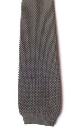 1970s 1980s  Knitted Neck Tie Mid Green Polyester New Wave Mod FREE P&P #NeckTie
