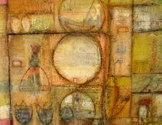 Encaustic,oil and collage on a birch panel