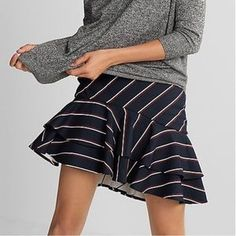 Express Skirts | Euc Express High Waisted Tiered Mini Skirt | Poshmark Ruffle Skirt, Blossoms, Casual Wear, Mini Skirts, Stripes, How To Wear, Outfits, Things To Sell, Casual Outfits