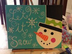 Winter Snowman Painting by StellaShaeBoutique on Etsy, $26.00