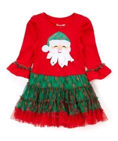 Red & Green Santa Ruffle-Skirt A-Line Dress - Toddler & Girls