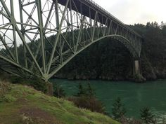 The Deception Pass Bridge can be viewed from below on Pass Island.