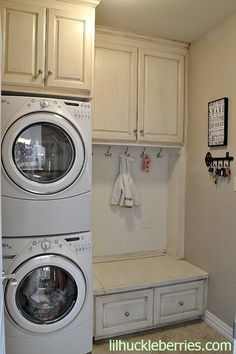 stacked washer dryer laundry room with mud room design - Google Search