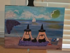 The Cat and the Cauldron Witches on the Beach Commissioned painting