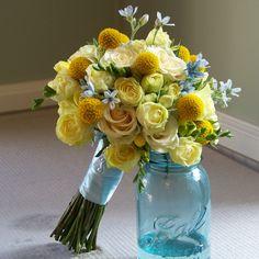 Craspedia, Creamy Eden spray roses, cream prophyta roses, light yellow freesia and a hint of tweedia