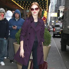 Jessica Chastain Ditches Khaki For a Purple Trench Coat