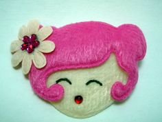 Pretty Doll Face with Fuschia Pink Hair & Flower Decoration Padded Furry Brooch : The Crafty Pixie