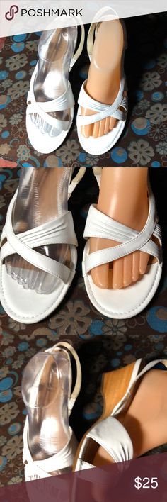 TIMBERLAND Women WHITE Leather Wedge Sandals 10M Beautiful Store Return White Leather Wedge Sandals  Size 9.5 medium These shoes appear to have been worn once and are in impeccable condition Timberland Shoes Sandals